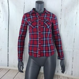 Divided red & blue plaid button up shirt